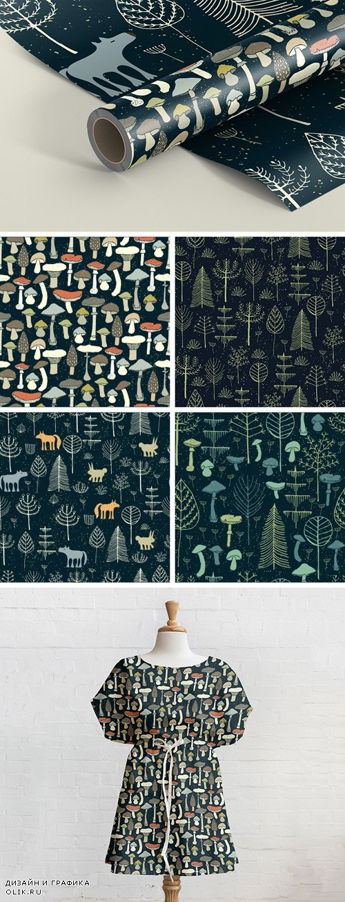 Ornamental Seamless Patterns - Magic Forest