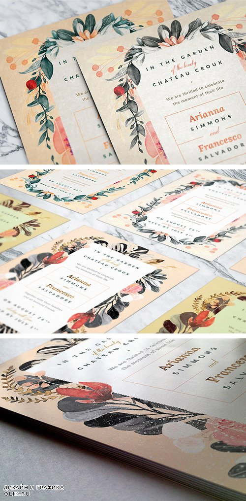 Flower Wedding Invitations - PSD Template