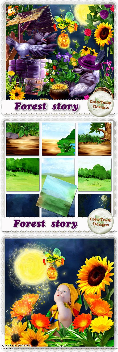 Hand-drawn Scrap Kit - Forest Story