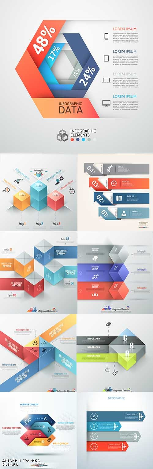 Modern infographics business options elements 20