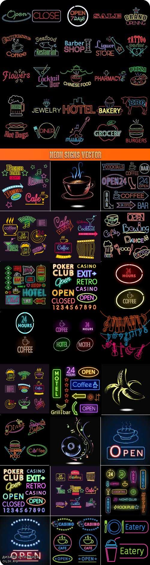 Neon Signs Vector 25xEPS