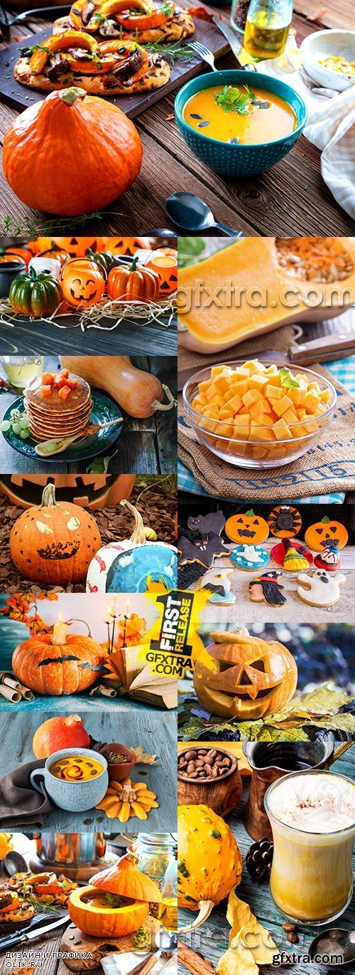 Pumpkin seasonal food different dishes and Halloween design
