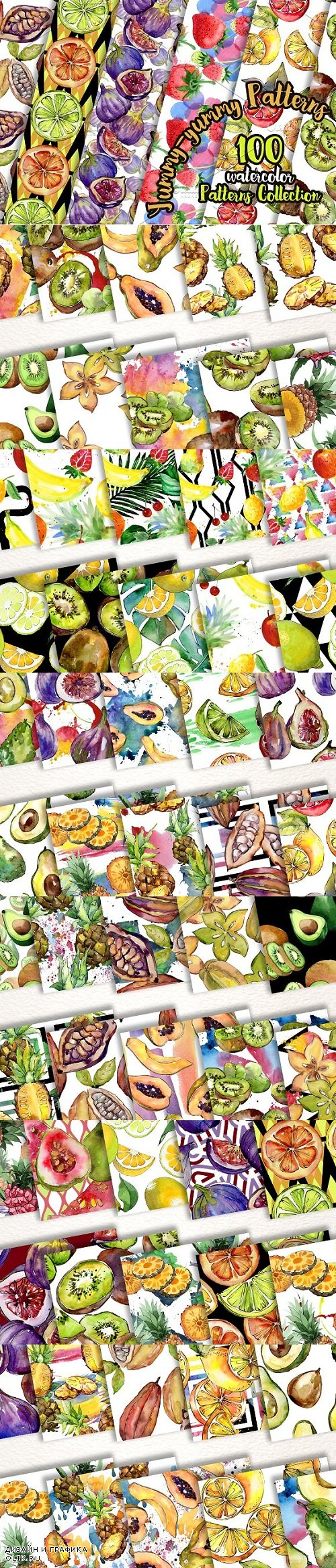 Yummy-yummy 100 patterns of fruits JPG watercolor set - 2876659 - 3482089