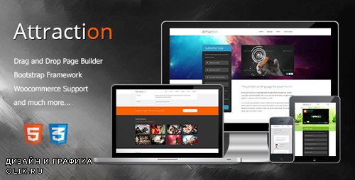 ThemeForest - Attraction v2.1.0 - Responsive Wordpress Landing Page - 5037132
