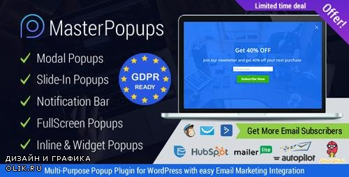 CodeCanyon - Master Popups v2.5.1 - WordPress Popup Plugin for Email Subscription - 20142807 -