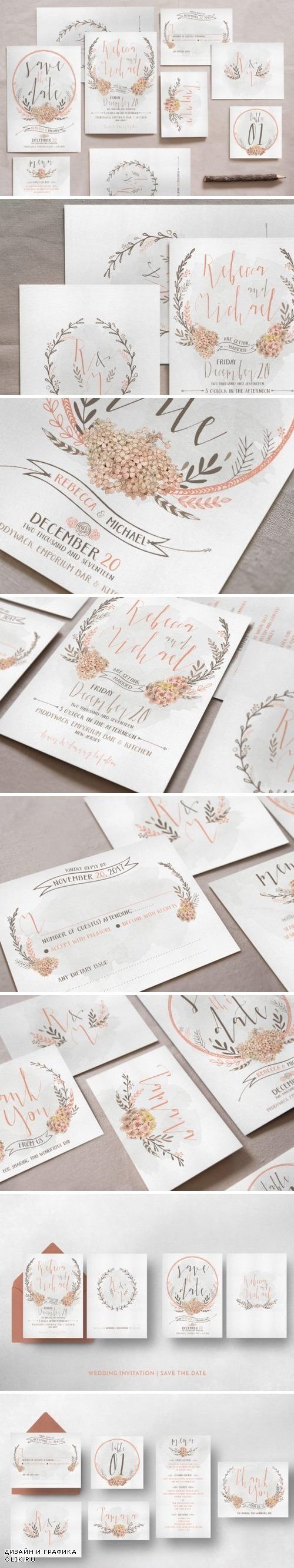 Wreath & Flower Wedding Invitation Suite 799852