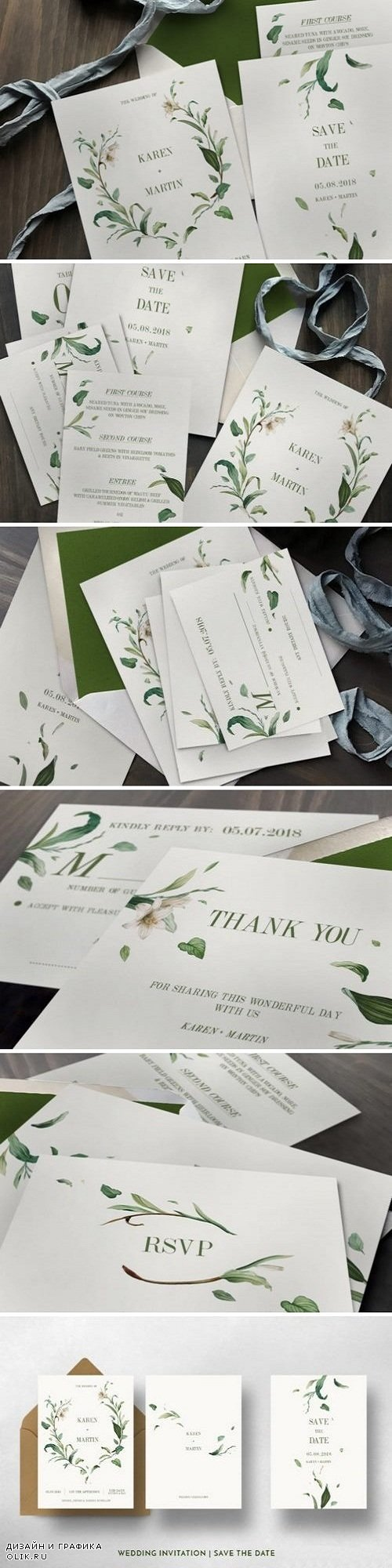 Green Foliage Wedding Invitation Suite 1116824