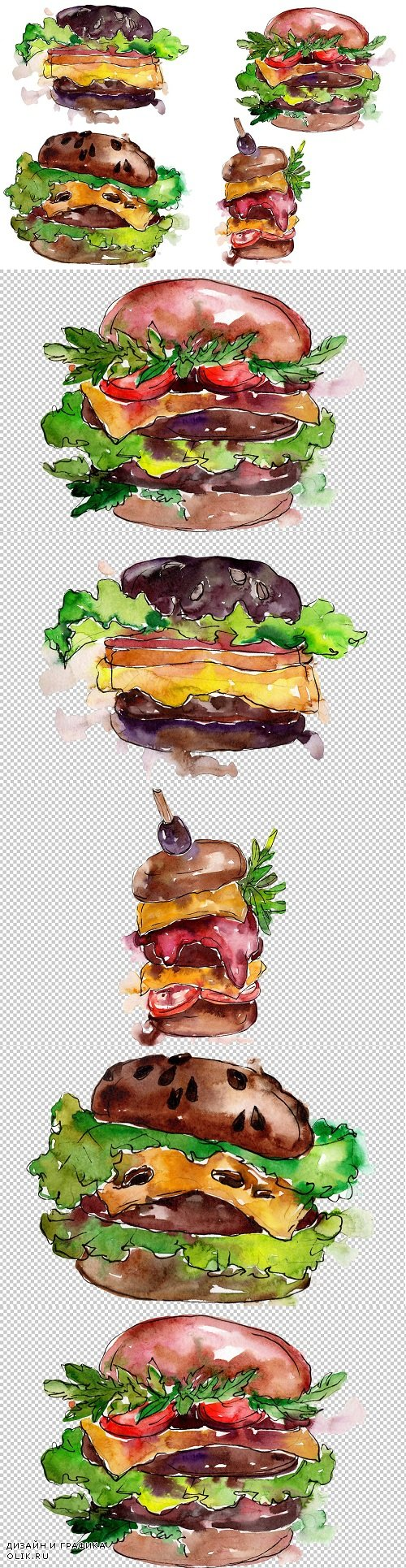 Hamburger Watercolor png - 3456769
