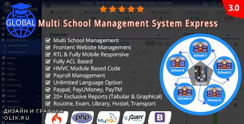 CodeCanyon - Global v3.0 - Multi School Management System Express - 21975378 -