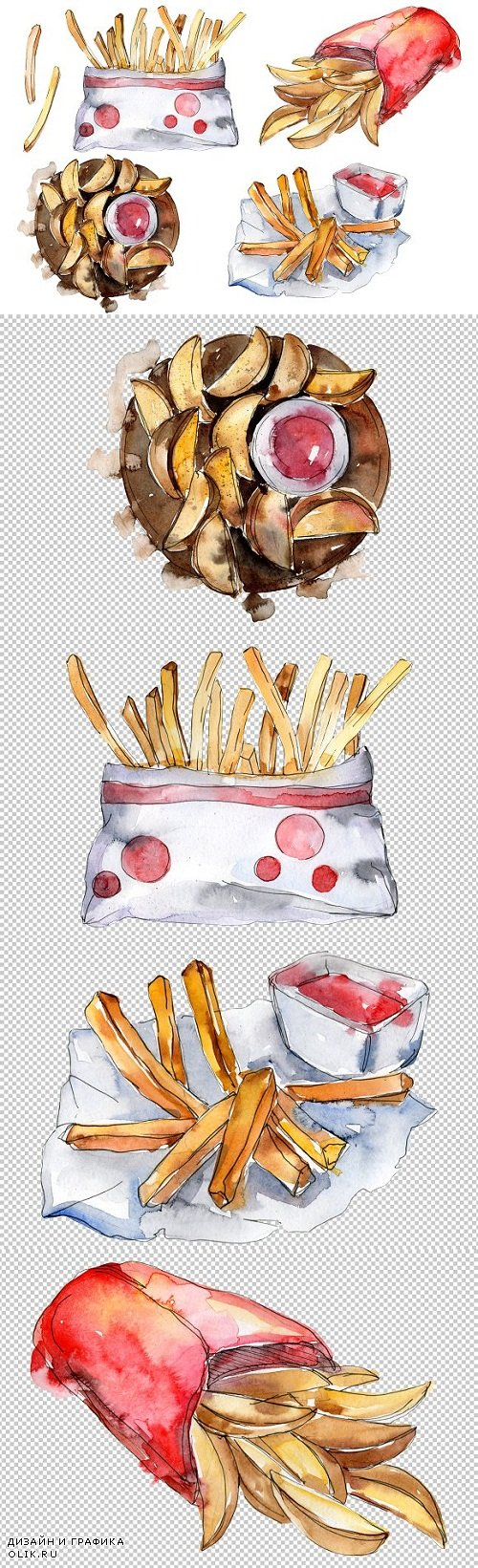 French fries with sauce Watercolor  - 3476828