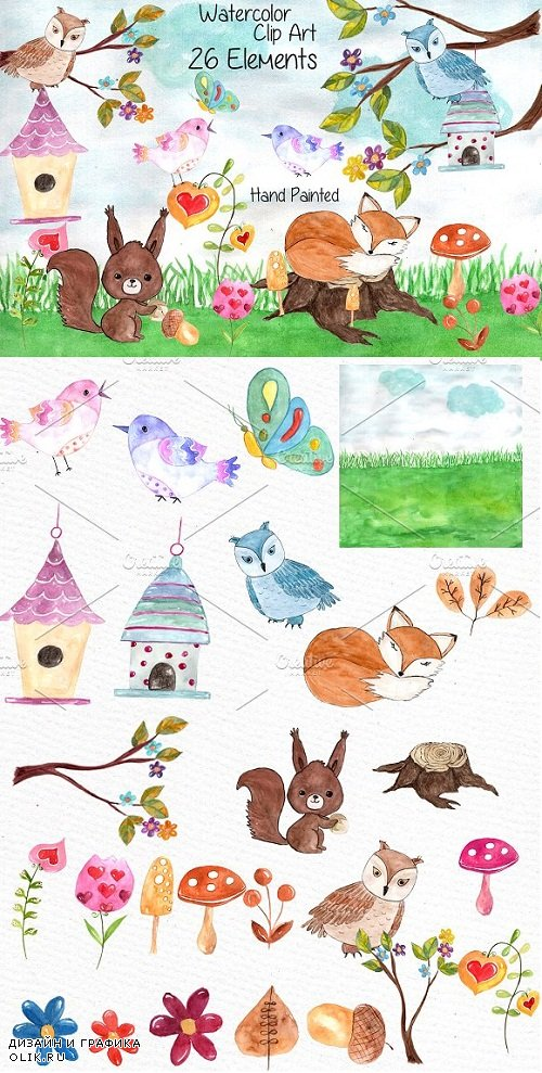 Watercolor forest animals clip art - 638653