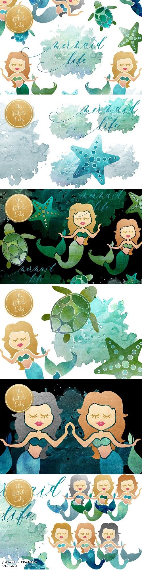 Mermaid & Sealife Clipart Set - 2813925