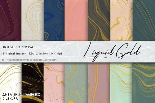 Liquid Gold Marble Digital Paper - 3212350