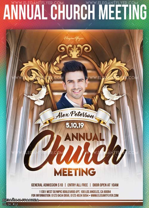 Annual Church Meeting V1 2019 PSD Flyer Template + Facebook Cover + Instagram Post