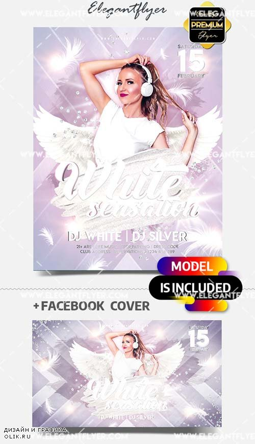 White Sensation Party V1 2019 PSD Flyer Template + Facebook Cover + Instagram Post