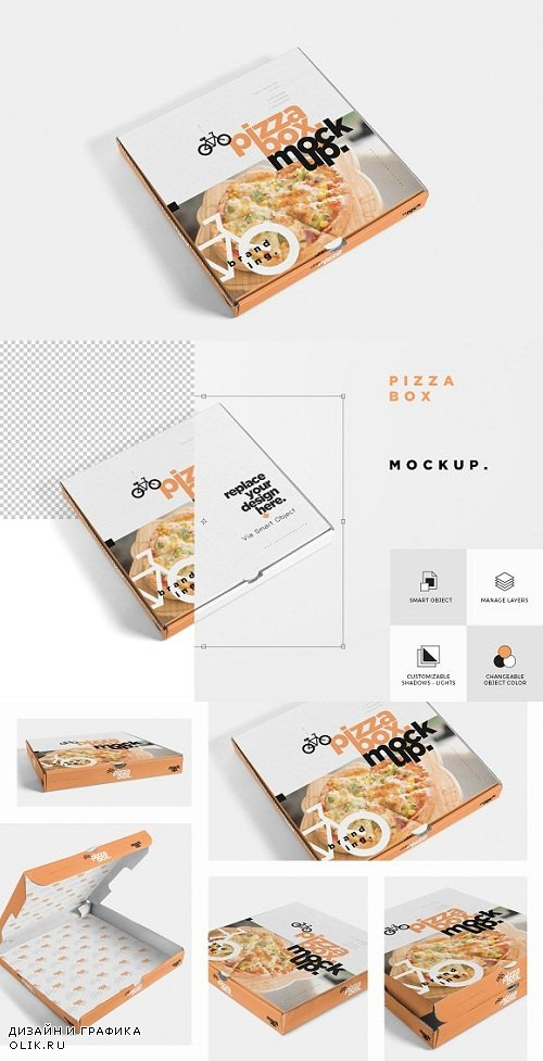 5 Pizza Box Mockups - 3476239