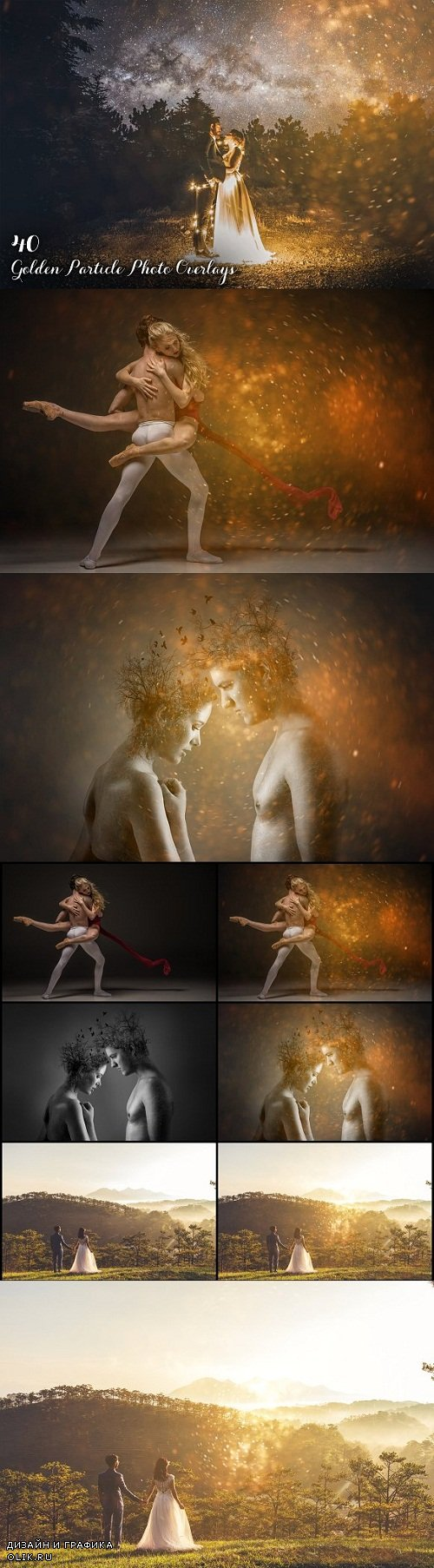 40 Golden Particle Photo Overlays 3499410