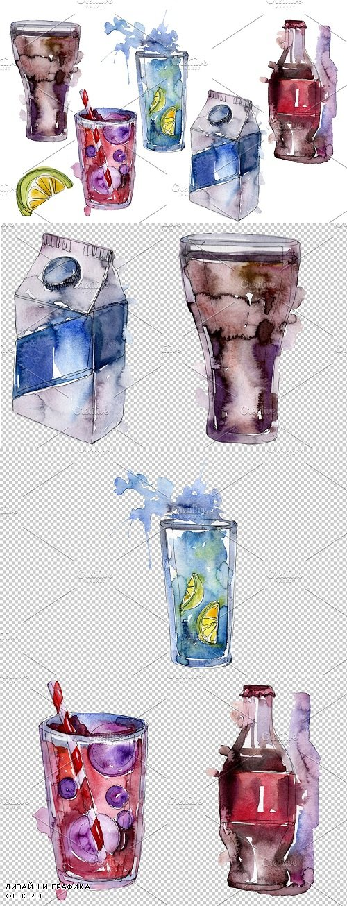 Gin Drinks Watercolor png - 3546742