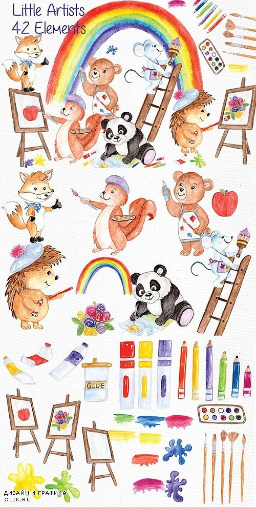 Watercolor animals kids clipart - 659289