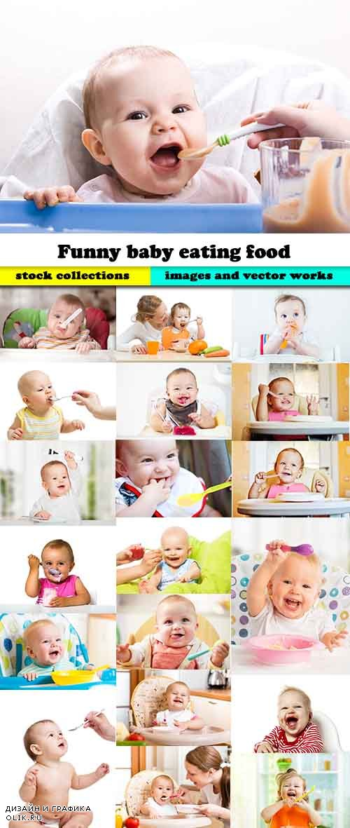 Funny baby eating