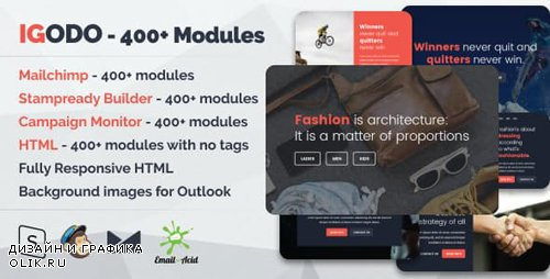 ThemeForest - Igodo - Responsive Email with 400+ Modules + MailChimp Editor + StampReady + Online Builder (Update: 30 January 19) - 20299979