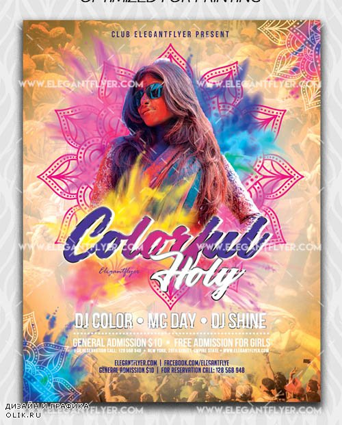 Colorful Holi V1 2019 Flyer Template in PSD