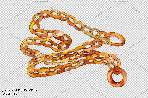 Chains, leather belts Watercolor png - 3639318