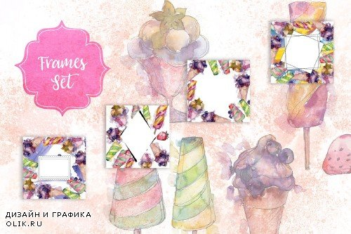 Watercolor cool ice cream PNG set - 2876623