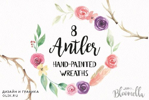 Antler Floral Wreath Watercolor Set - 2435207