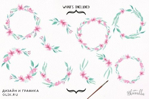 Aqua Pink Floral Wreaths Watercolor - 2639625