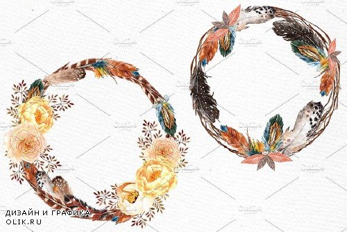 Watercolor feather wreaths clipart - 527758