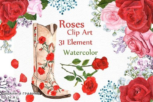 Watercolor Roses Clipart - 987795