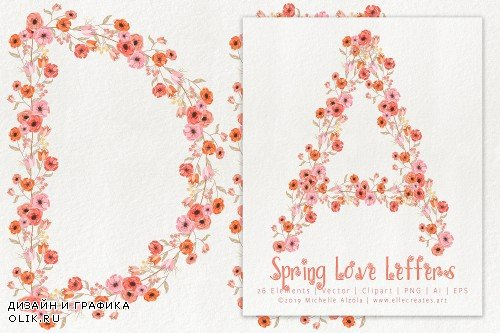 Spring Love 01 Peach & Mint Letters - 3669480