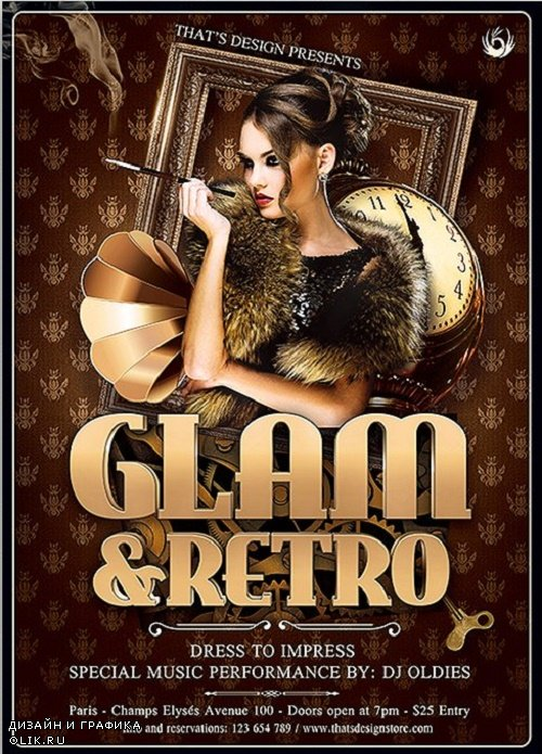 Retro Glam Flyer Template V2 - 90985