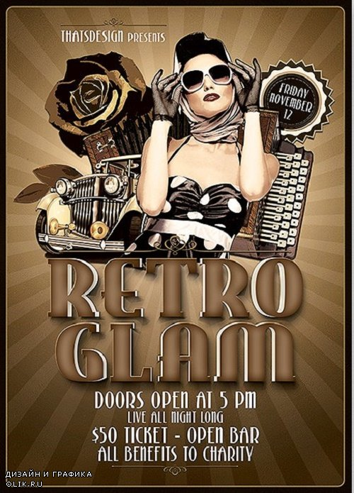 Retro Glam Flyer Template V1 - 90833