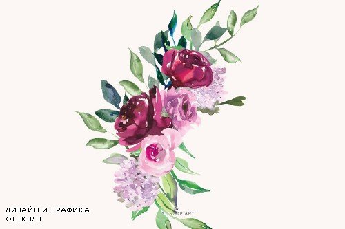 Watercolor Marsala and Pink Flowers - 2744038