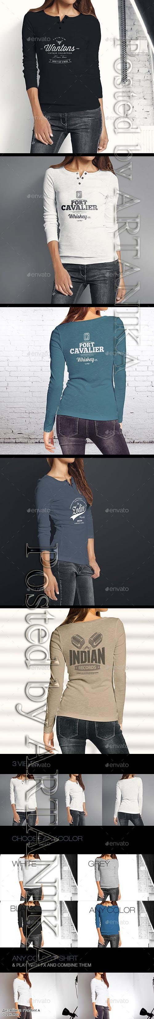 GraphicRiver - Woman Longsleeve Shirt Mock-up 9610673