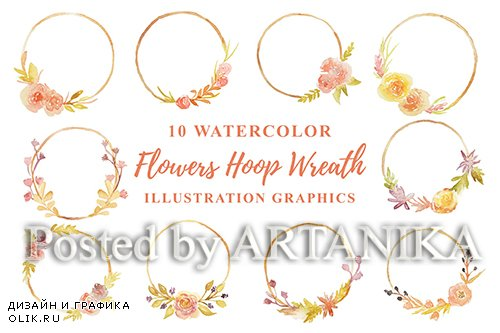 10 Watercolor Flowers Hoop Wreath Illustration