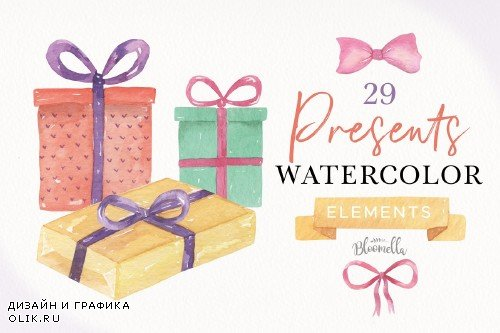 Watercolor Presents Gifts Tags Bows - 3496034