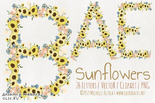 Sunflowers LETTERS Vector & Clipart - 3686770