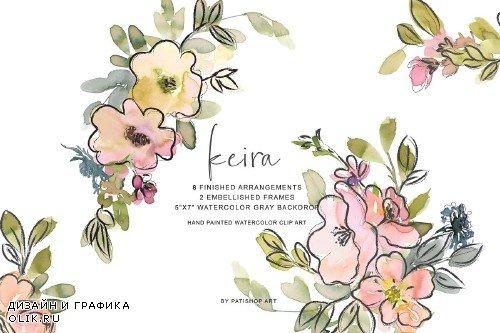 Watercolor Blush and Lemon Colors Florals 3699397