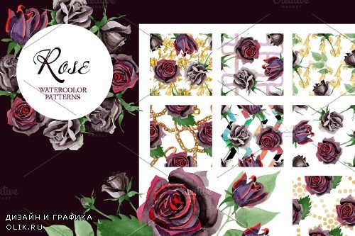 Exclusive black rose watercolor png - 3700244