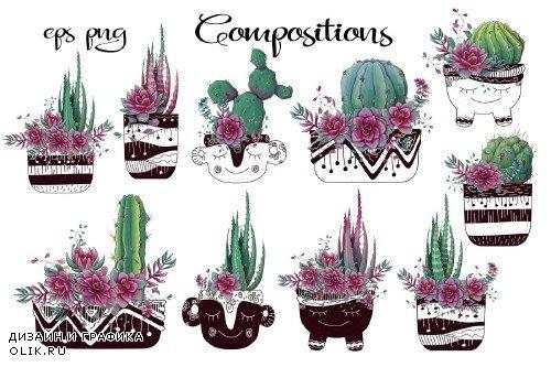 Cacti & Succulents in purple - 3698434