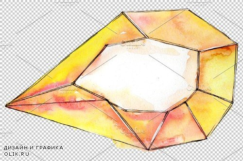 Aquamarine Сrystals Watercolor png - 3698277
