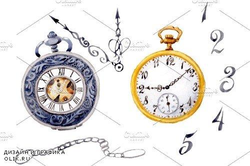 Clock old watercolor png - 3694924