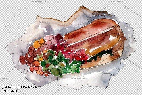 Hot dog in Ukrainian watercolor png - 3698644
