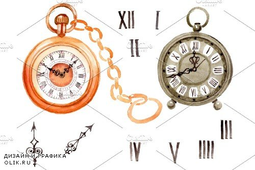 Clock old antiques watercolor png - 3694956