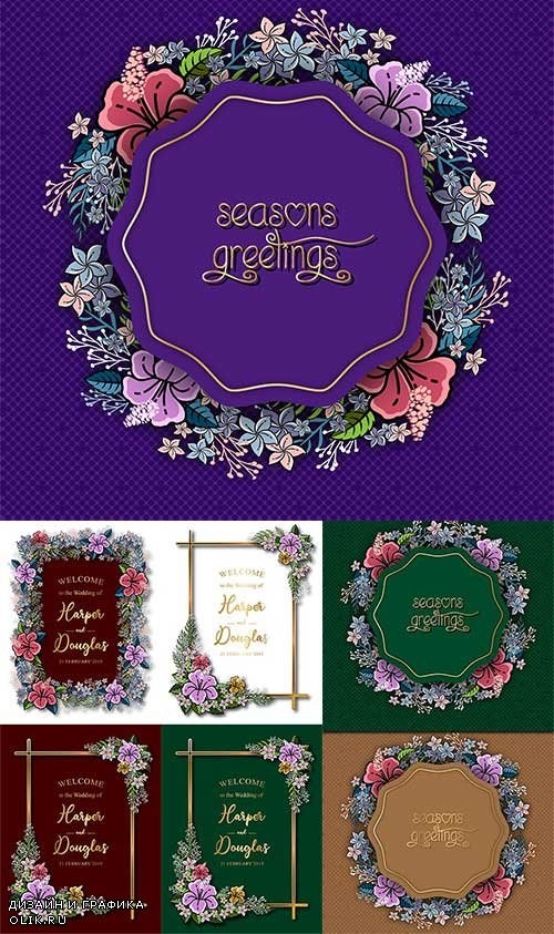 Рамки с цветами для приглашений - Векторный клипарт / Frames with flowers for invitations - Vector Graphics