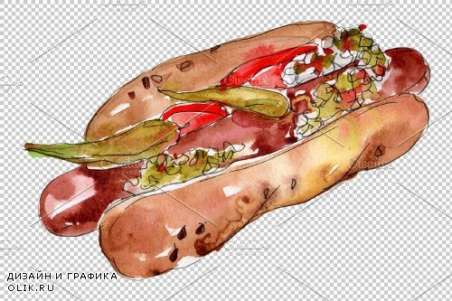Korean hot dog watercolor png - 3705938