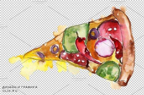 Pizza Margherita watercolor png - 3705964